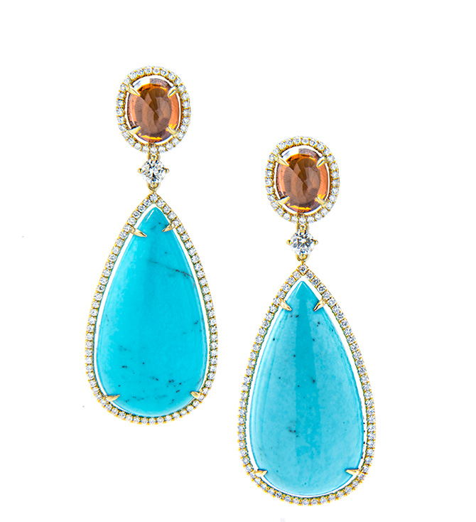 Jordan Alexander turquoise citrine and diamond earrings