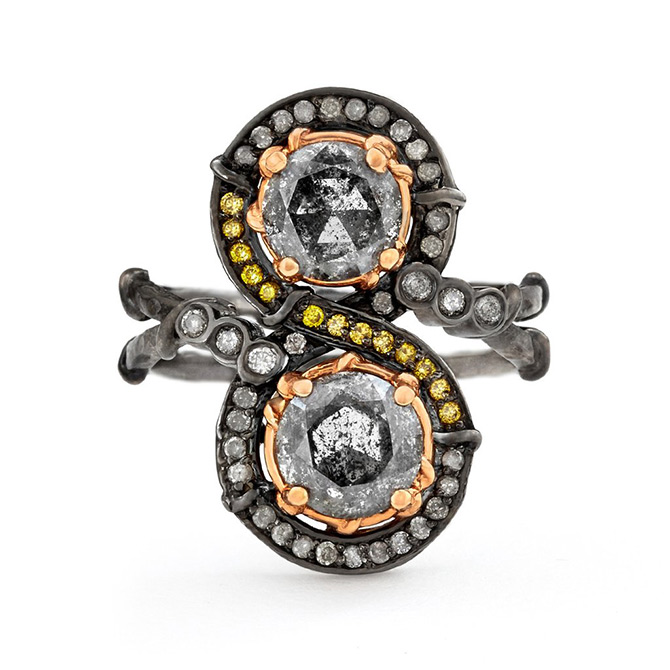 Karen Karch black swan ring with gray and yellow diamonds