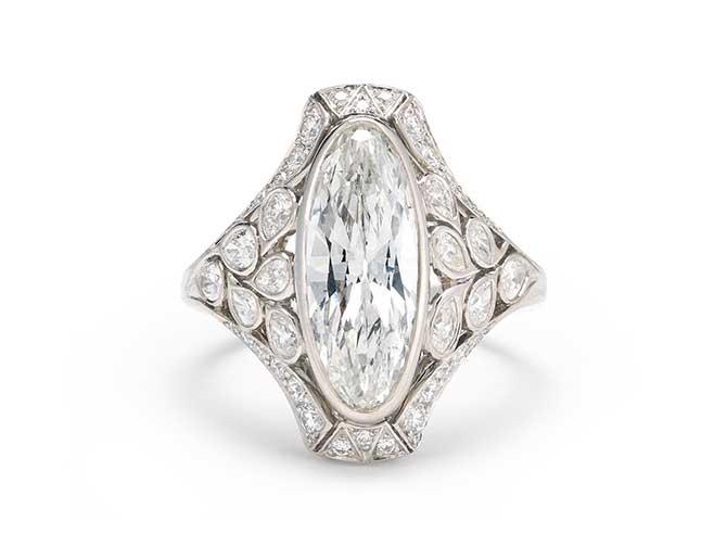 McTeigue McClelland Navette Diamond Flora RIng Plat