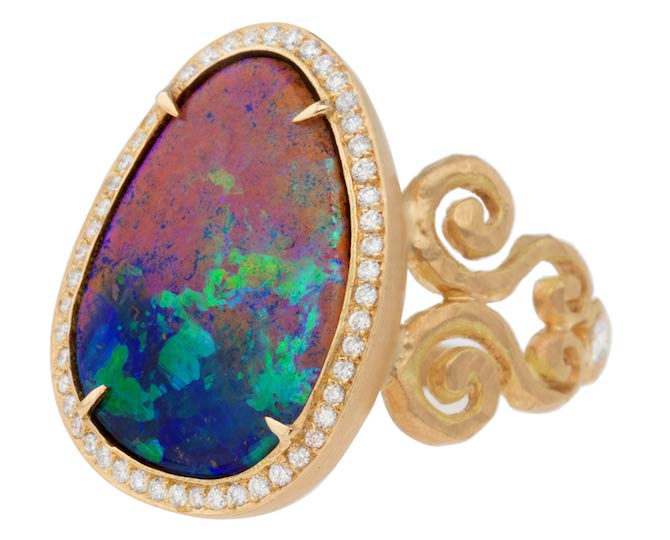 Pamela Froman double arabesque boulder opal ring