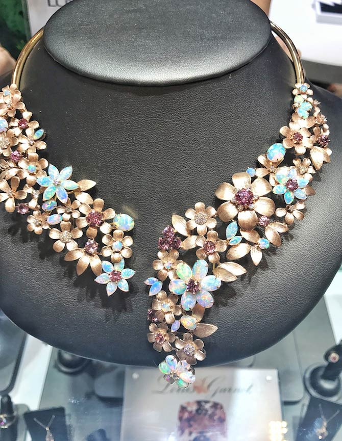 Parle opal flower necklace