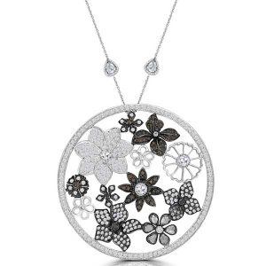 Flower Garden pendant in 18k white gold with rose cut and natural diamonds