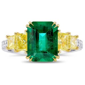 Leibish and Co. emerald and yellow diamond ring