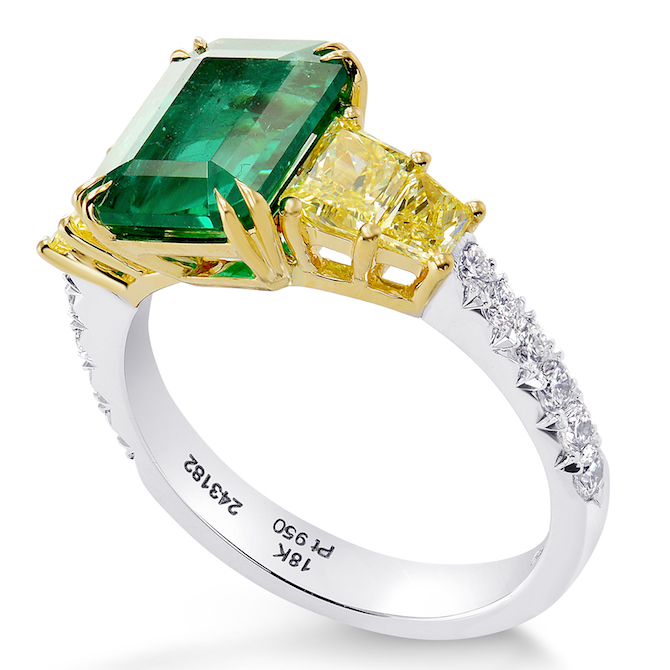 Leibish and Co emerald and diamond ring