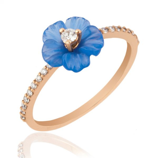 Crysellas blue flower ring
