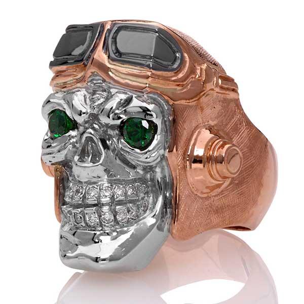 Steve Soffa aviator skull ring