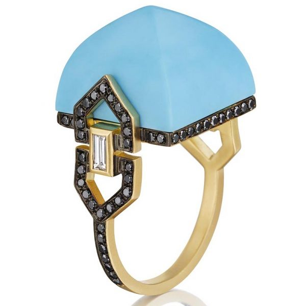 Doryn Wallach turquoise cocktail ring