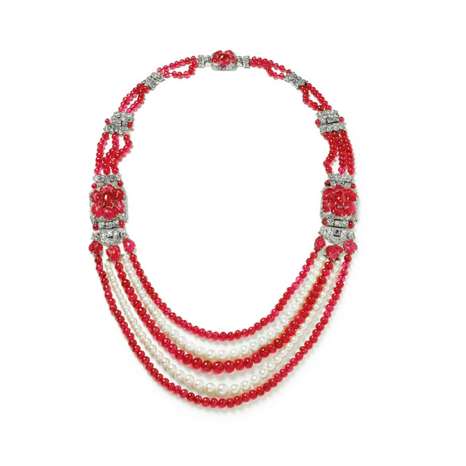 Ruby by Joanna Hardy Cartier ruby and pearl necklace
