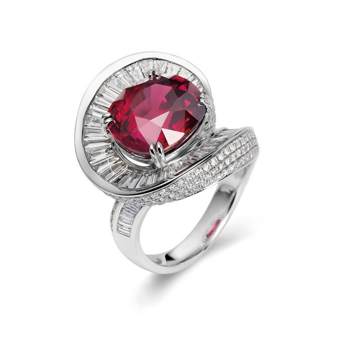 Ruby by Joanna Hardy Fei Liu ruby and diamond ring