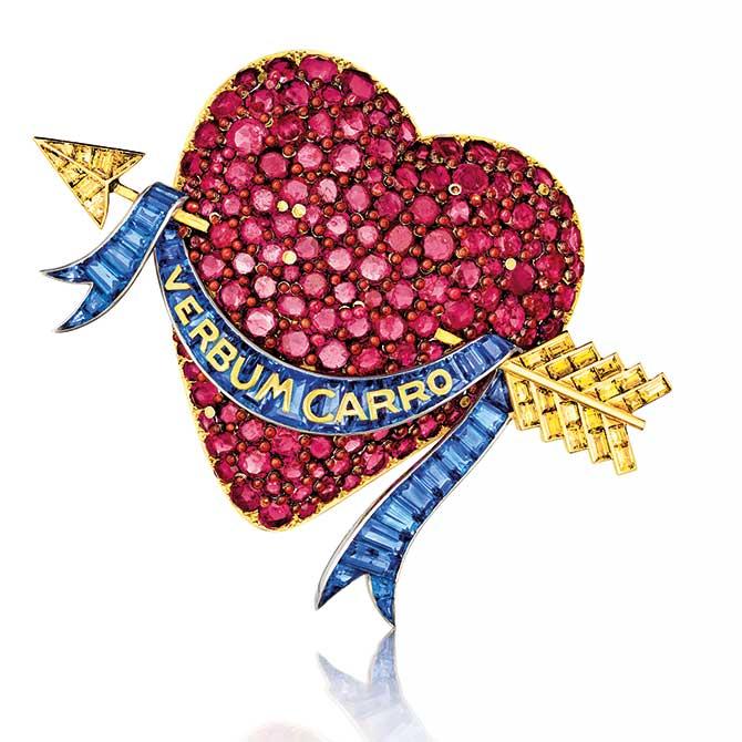 Ruby by Joanna Hardy Ruby Heart Brooch by Verdura for Paul Flato