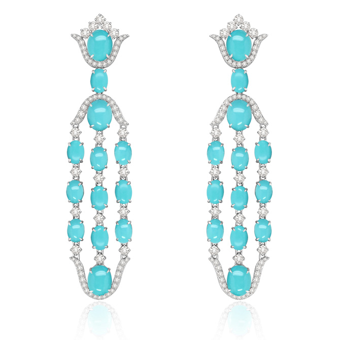 Sutra Turquoise and Diamond Earrings SJE2818W copy