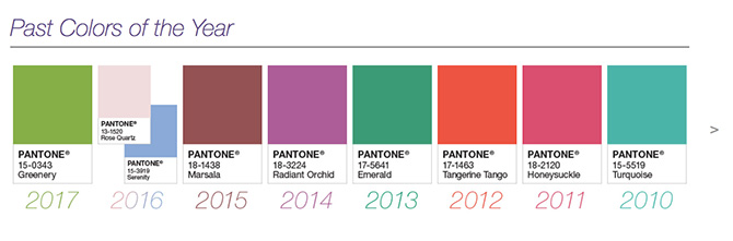 Pantone past colors of the year