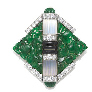 2 Mauboussin Jadeite Brooch courtesy Bonhams archives
