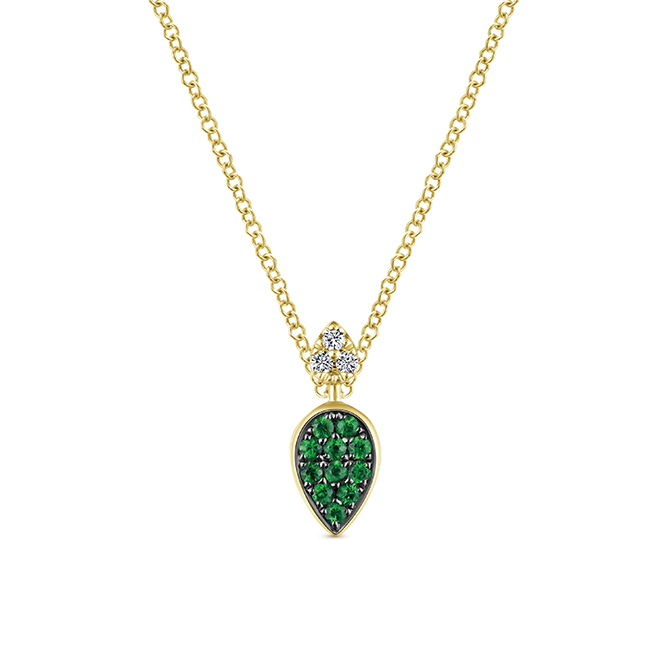 4 Gabriel NY pendant emerald 18k yellow gold and diamond