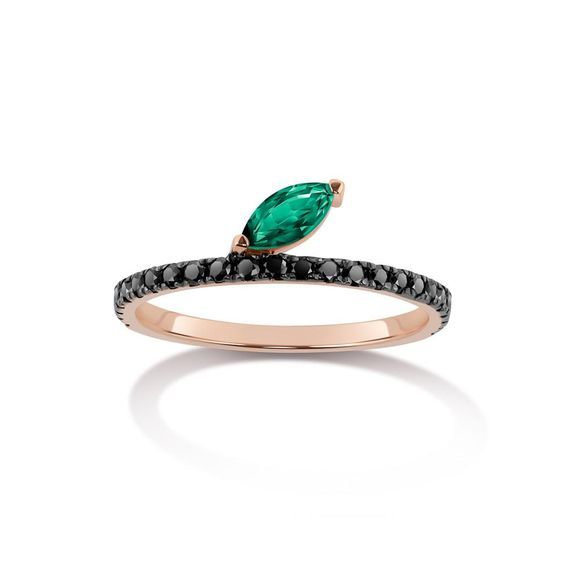 7 Selin Kent Black Diamond and Emerald Ring