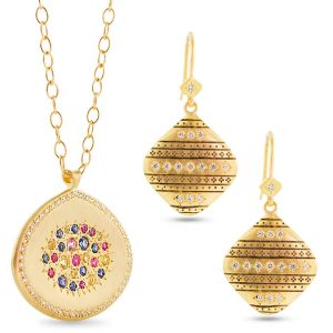 multicolored sapphire pendant and diamond and gold earrings Adel Chefridi