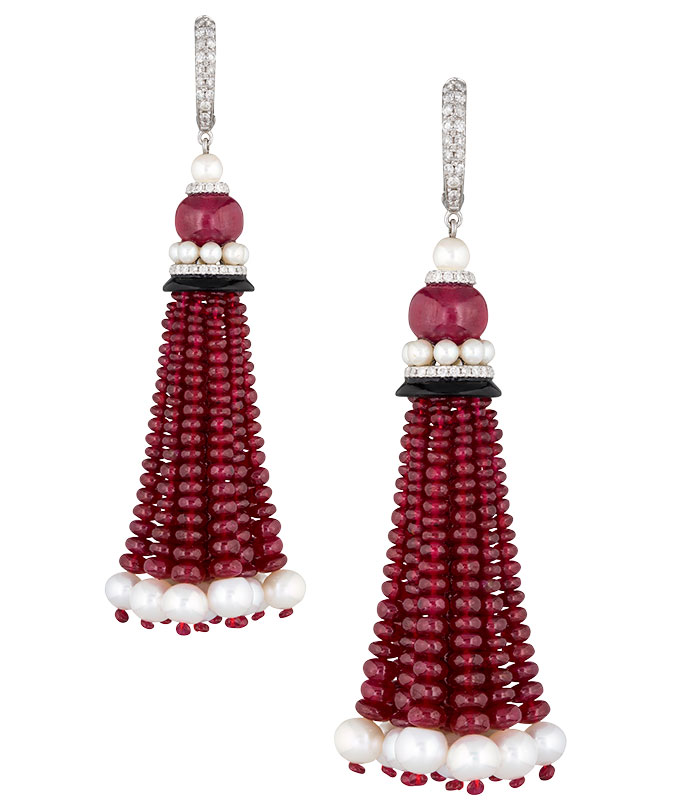 Amrapali ruby diamond pearl tassel earrings