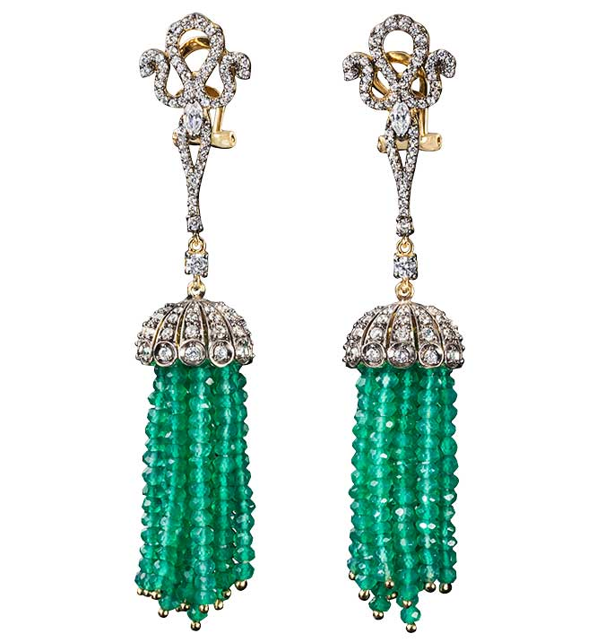 Anabela Chan green agate tassel earrings