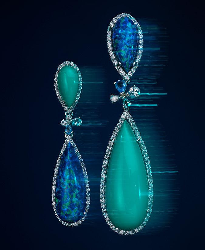 mismatched turquoise and blue opal cabochon earrings