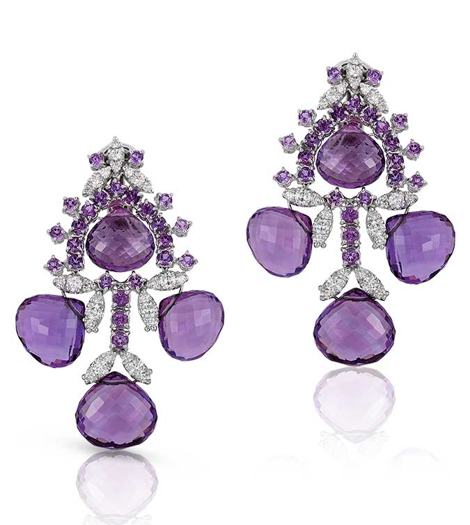 71 plus carat amethyst and diamond drop earrings