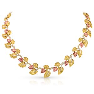 yellow and pink sapphire necklace
