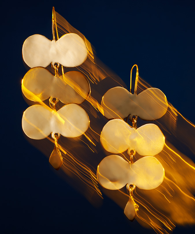 sculptural brass chandelier earrings