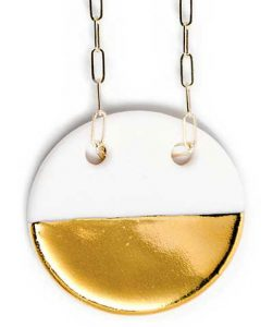 gold dipped porcelain circle pendant