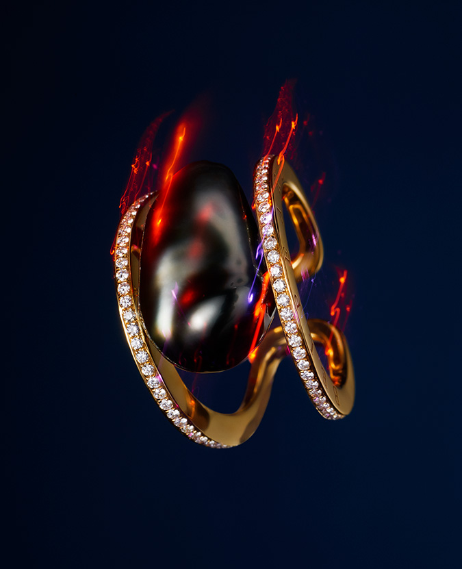 keshi South Sea pearl and diamond ring