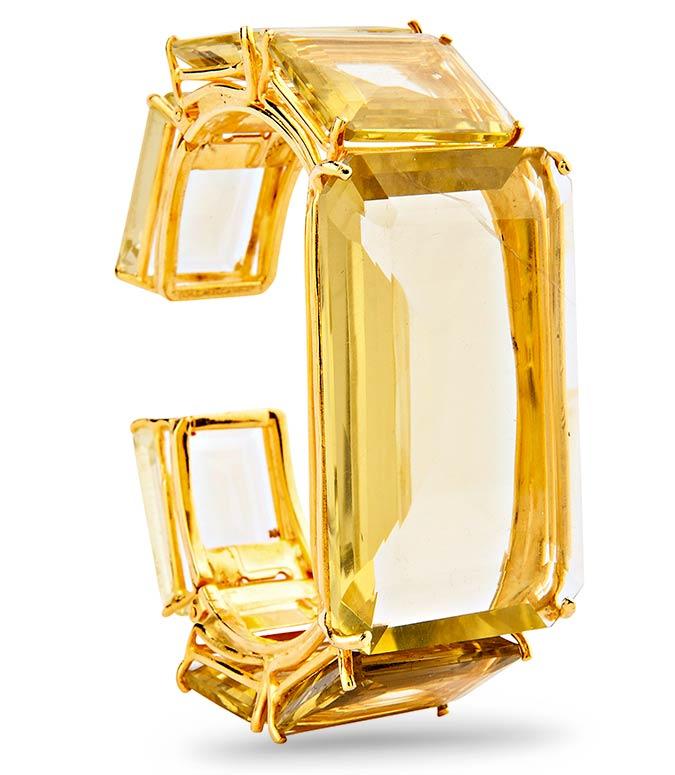 lemon quartz cuff bracelet