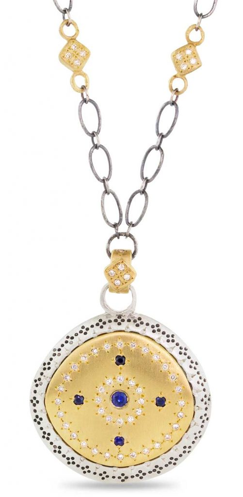 sapphire and diamond pendant adel chefridi