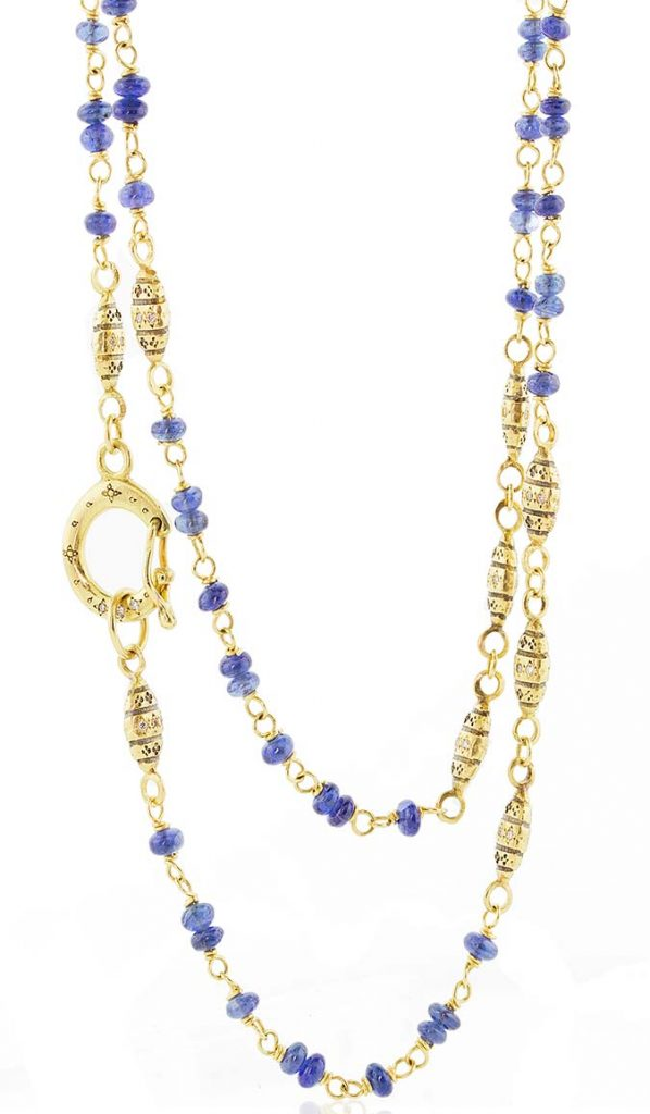 Adel Chefridi sapphire and gold necklace