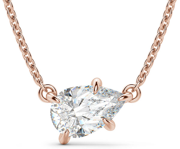 rose gold necklace with pear shape lab-grown diamond