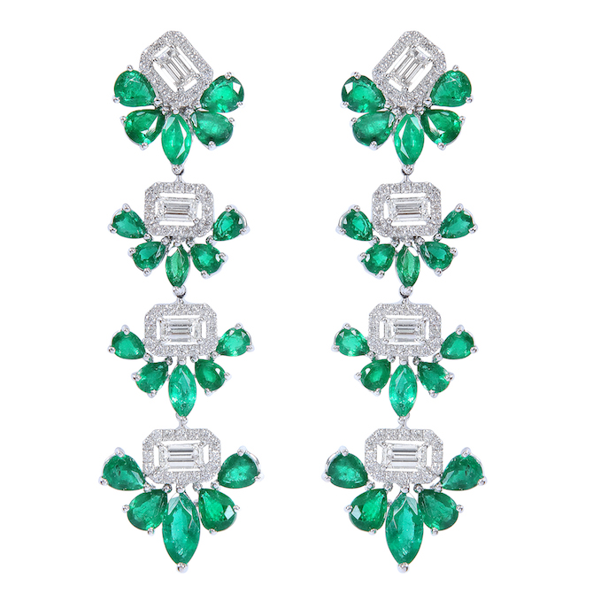 Djula emerald and diamond drop earrings