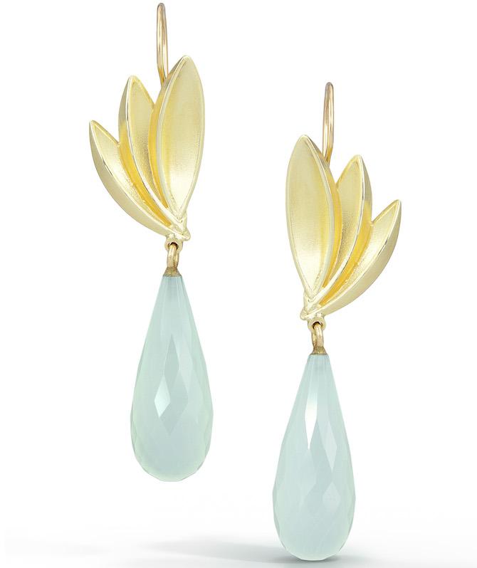 Thea Izzi chalcedony Bird of Paradise earrings