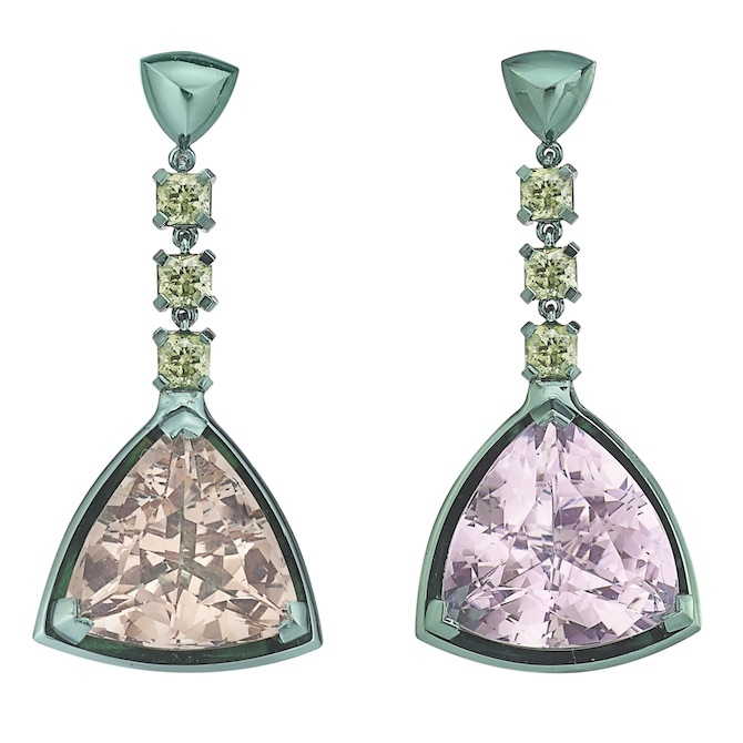 The Rock Hound Chromanteq morganite and kunzite earrings