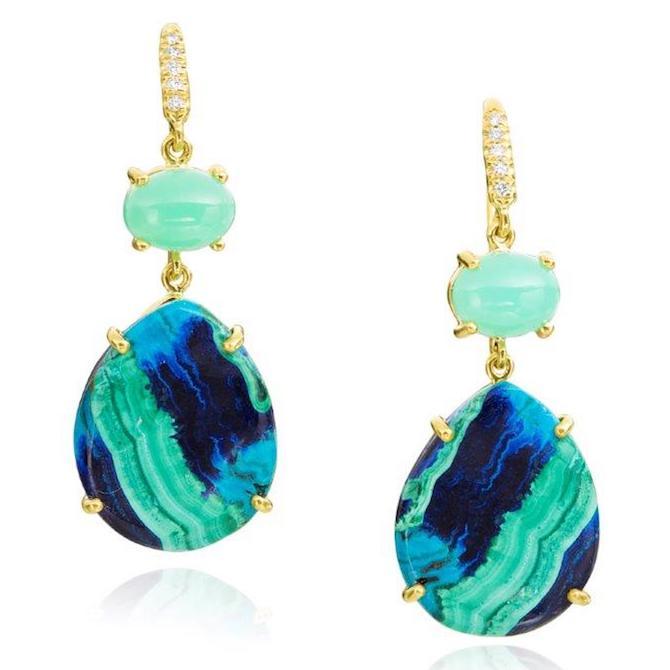 Lauren K chrysophase and azurite earrings