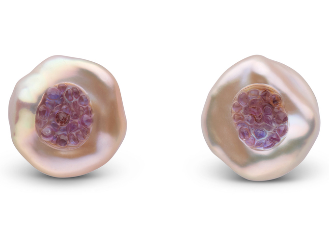 Little h Finestrino pearl and amethyst studs | JCK On Your Market