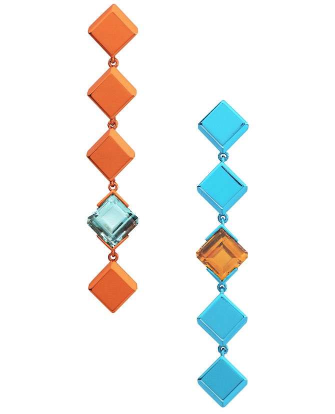 The Rock Hound Chromanteq blue and orange earrings | JCK On Your Market