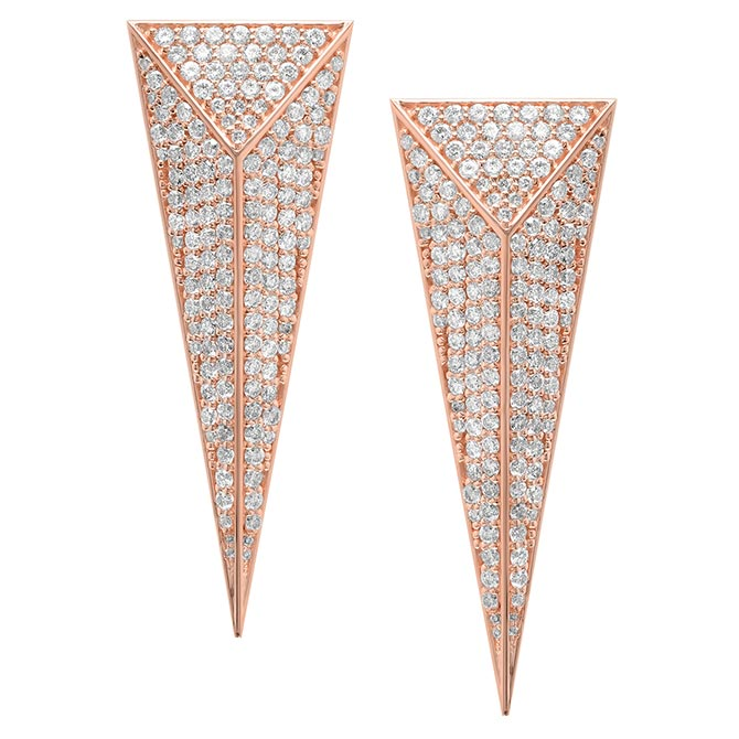 Established Pyramid Dagger Earrings RG Pave