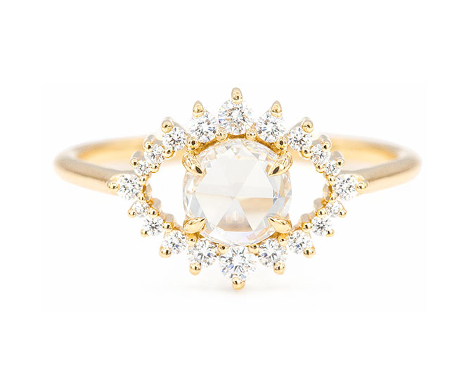 Everett Engagement Ring Rose Cut Center Stone