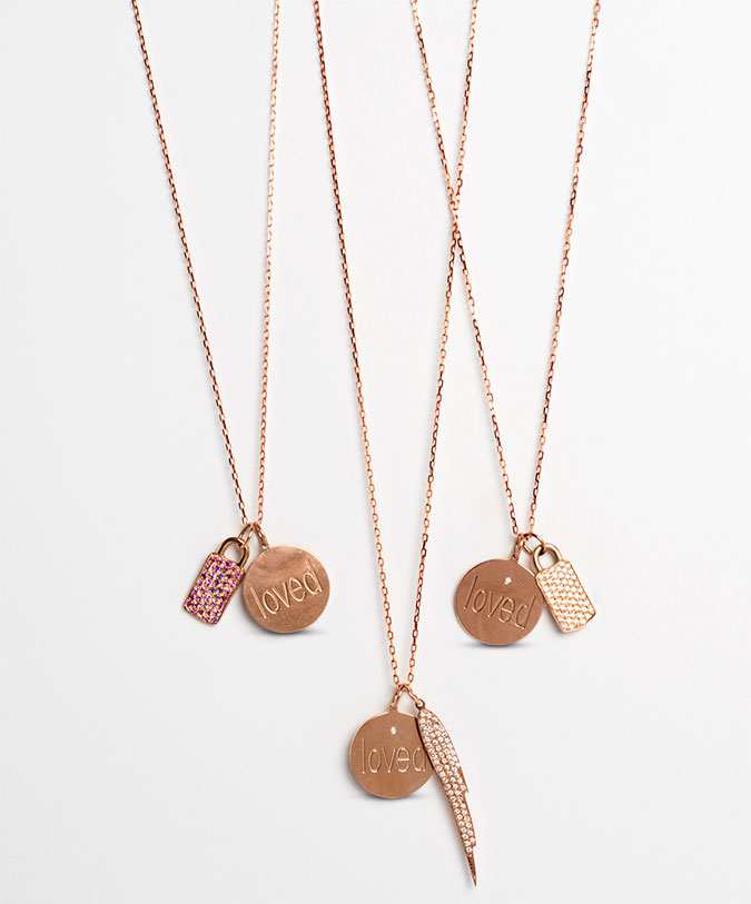 Loved charm necklaces in rose gold with pink sapphires