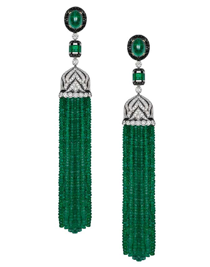 Gilan emerald tassel earrings