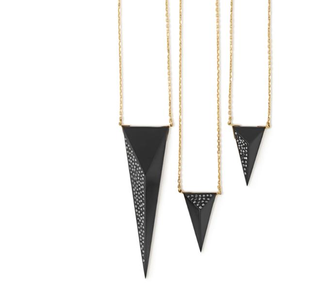 JAcqueline Cullen Faceted Whitby jet+and black diamond pendants Jacqueline Cullen
