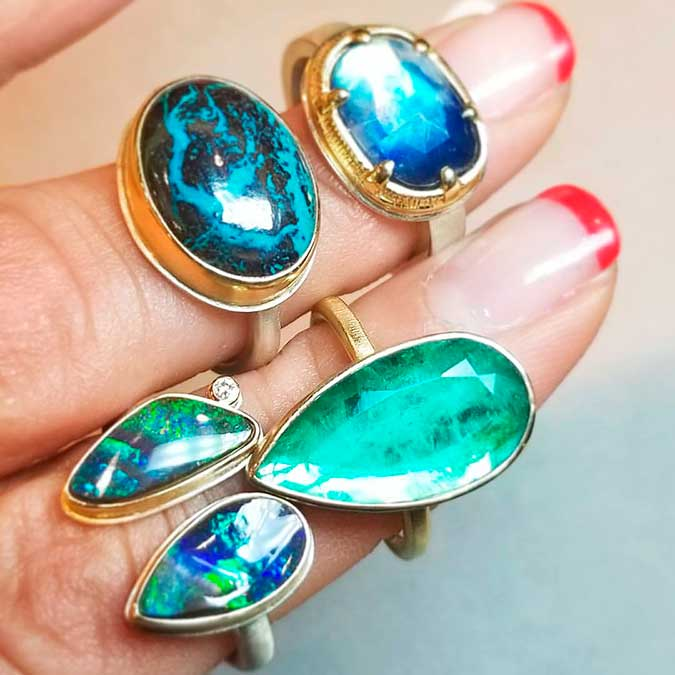 Jamie Joseph blue and green gemstone rings