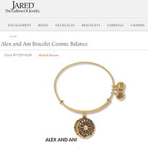 Jared sues Alex and Ani website sales piece