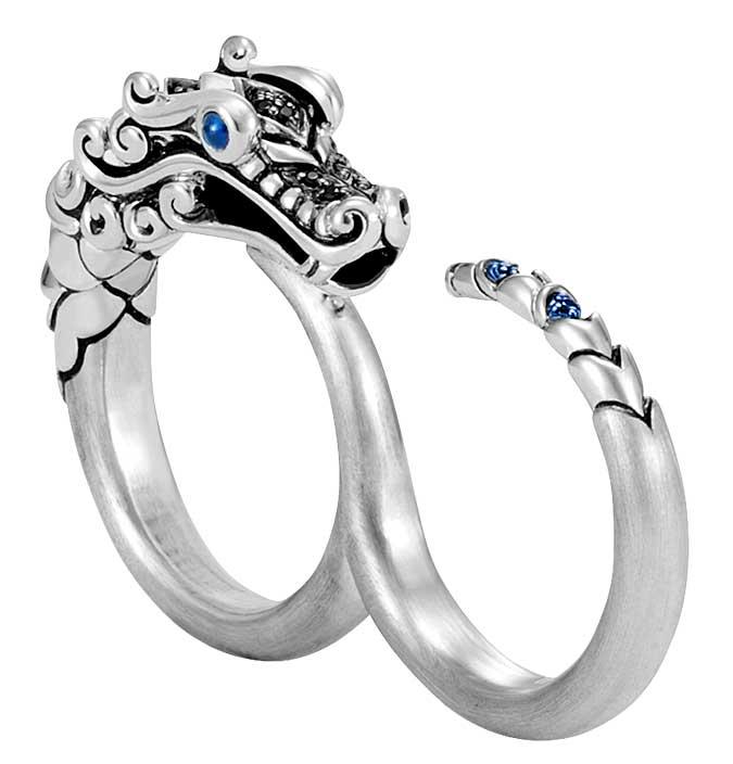 John Hardy two finger Naga silver ring