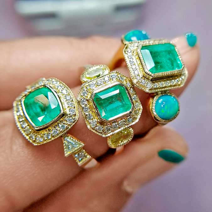 three Just Jules emerald rings