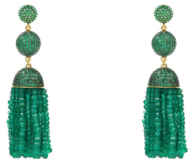 Latelita London green onyx tassel earrings