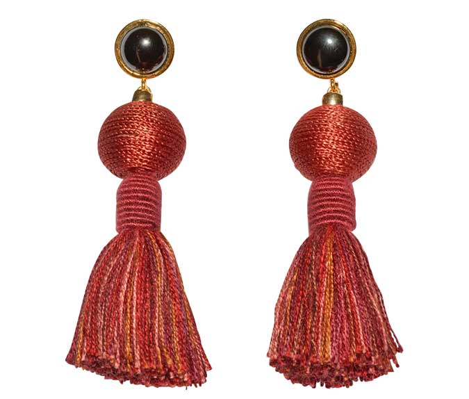 Lizzie Fortunato silk thread tassel earrings with onyx