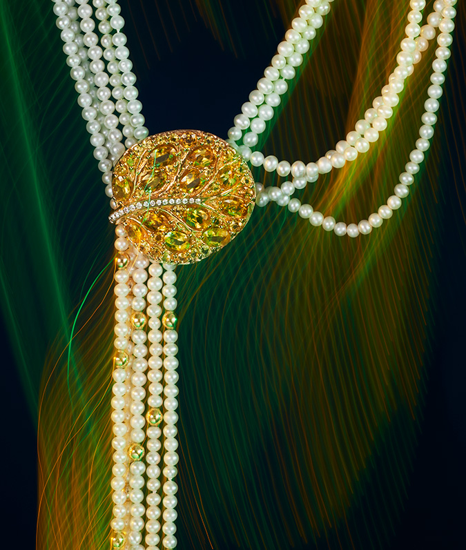 multistrand pearl lariat with diamonds and citrine